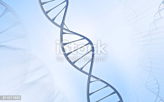 istock Close DNA Double helix, metal with white and blue background 614311830