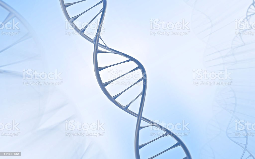 Close DNA Double helix, metal with white and blue background – Foto