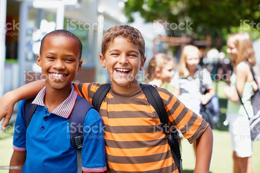 Close friends and a good school - Life's great! royalty-free stock photo
