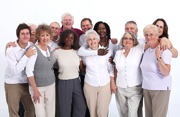 Close group of mixed age and senior people stock photo