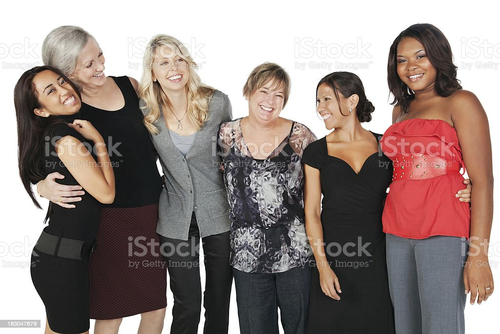 Close Group of Women Laughing Together royalty-free stock photo