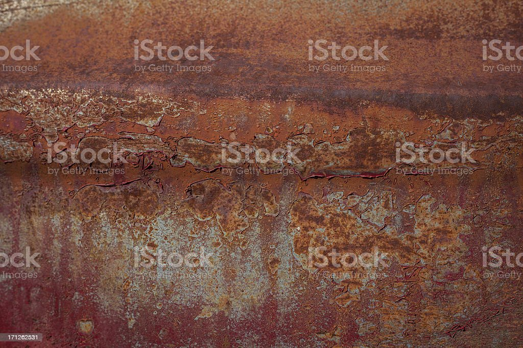 Close in of Red Rusted Antique Pick Up Truck textured stock photo