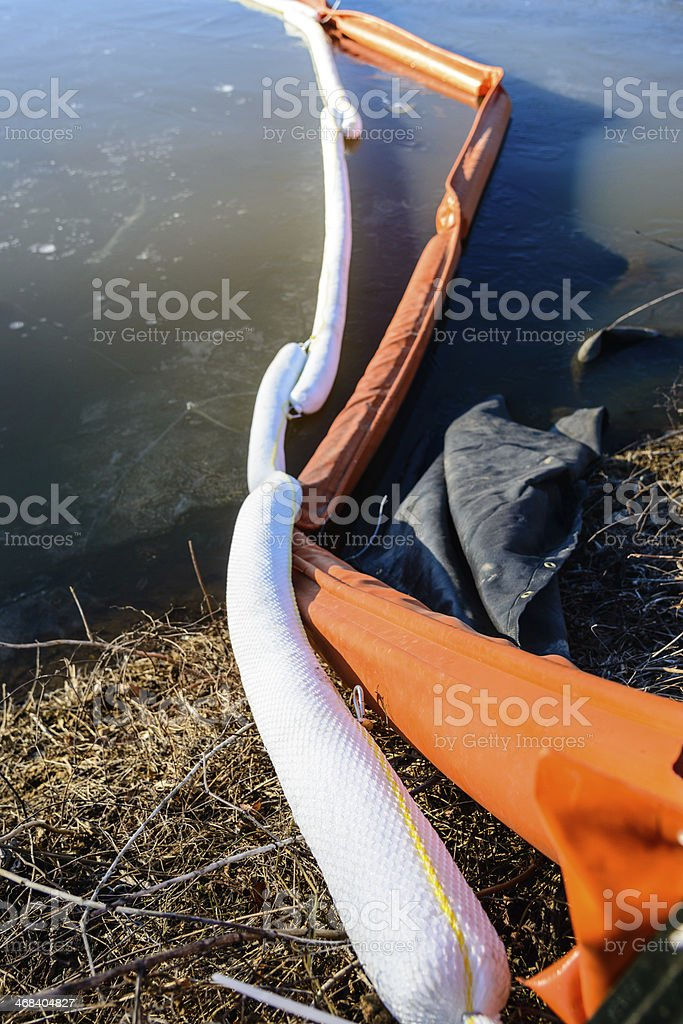 Close look at oil spill booms stock photo