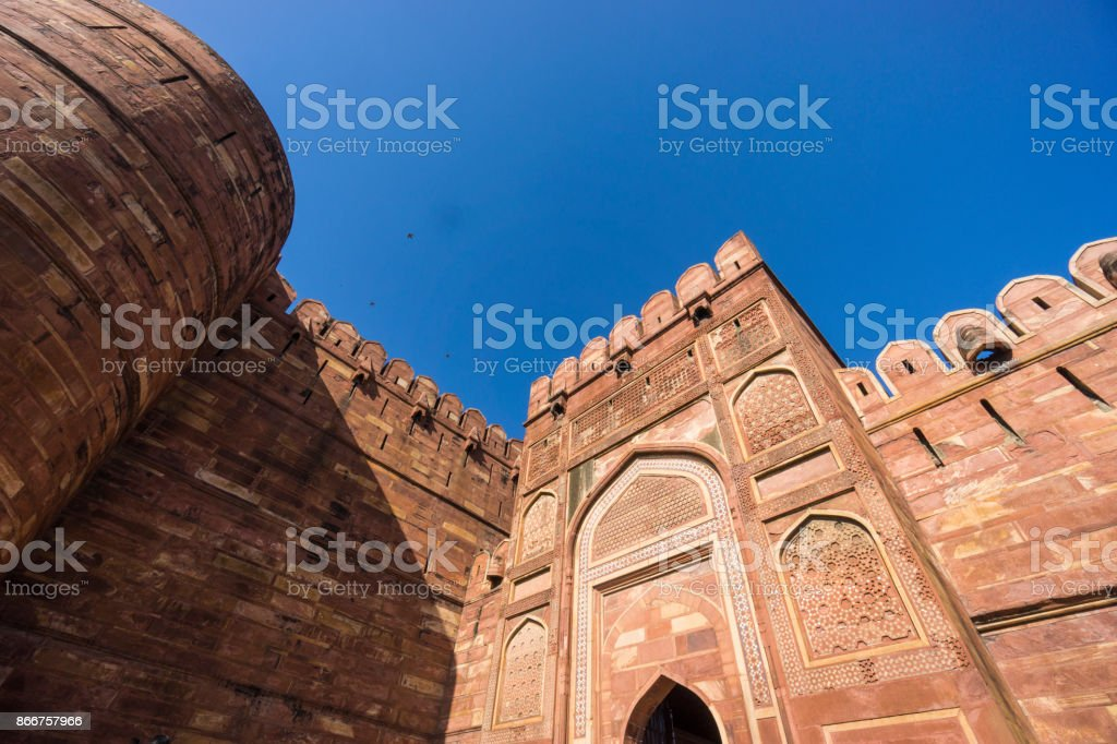 A close look at the traditional Islamic architecture details in Red Fort, Agra. stock photo