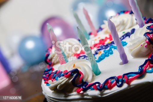 Close of a Birthday Cake with unlit Candles