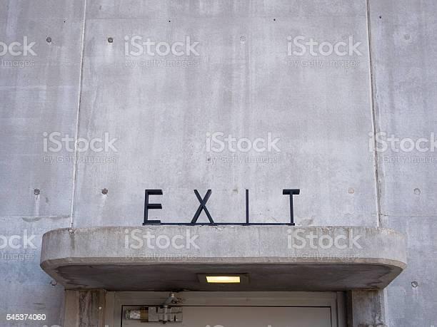 Close of Art Deco Exit Sign above Doorway