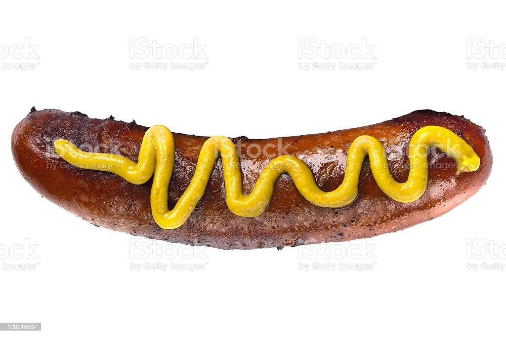 Close of photograph of a bunless hot dog with mustard royalty-free stock photo