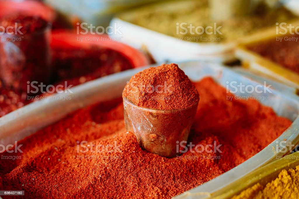 Close Of Powdered Cayenne Or Red Hot Chili Pepper  Sale stock photo