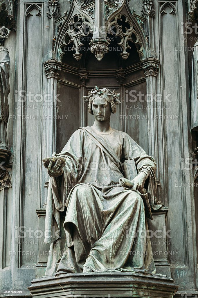 Close of statue Of Czech King Charles Iv in Prague. stock photo