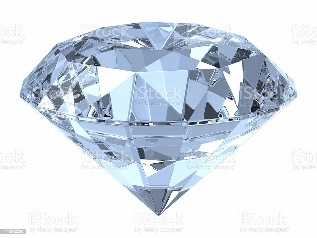 Close of up a diamond on white background stock photo