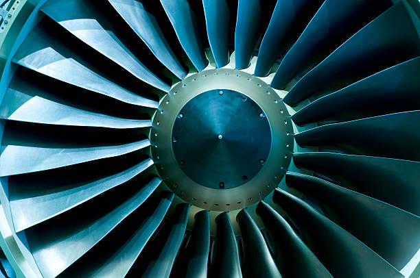 A close of up a turbine showing the individual spokes Turbines of a jet plane propeller stock pictures, royalty-free photos & images