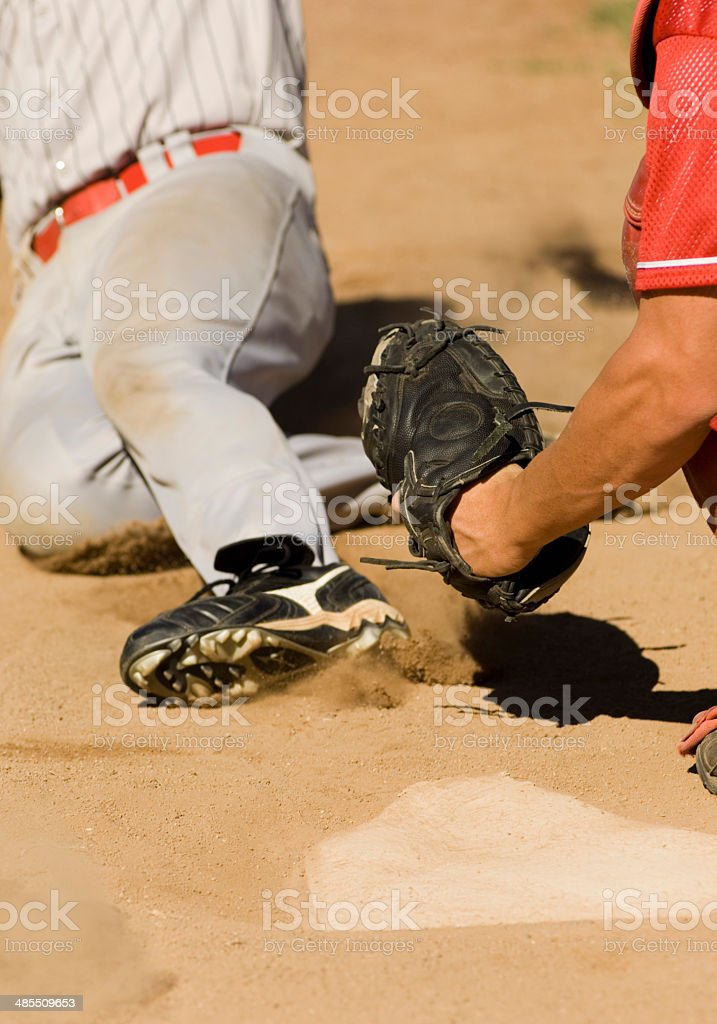 Close Play at Home Plate in Baseball Game stock photo
