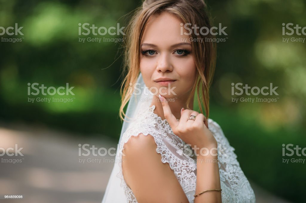 A close portrait of a blonde bride. Dvushka frowned on the wedding day. A beautiful bride is getting ready to get married royalty-free stock photo