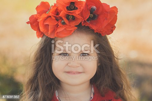 istock Close portrait of little child girl with big cheeks brown eyes and pout lips wearing stylish red dress with summer shirley poppy on top head 873091352