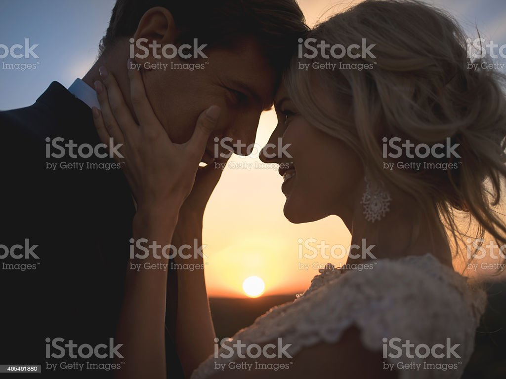 Close portrait silhouette in love wedding couple. Against the setting...