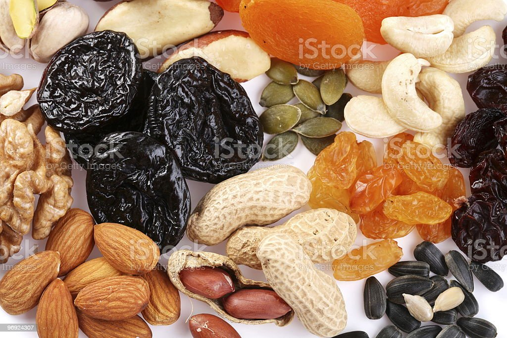 Close seeds and dried fruits royalty-free stock photo