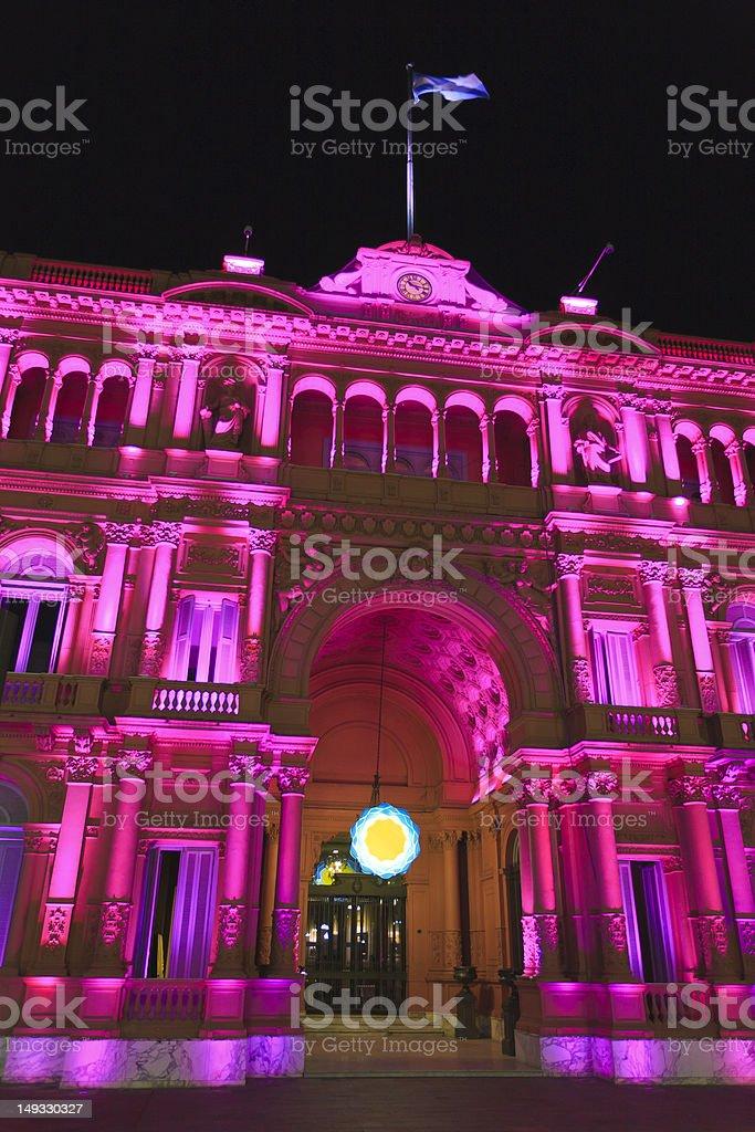 Close shot of  Casa Rosada at night stock photo