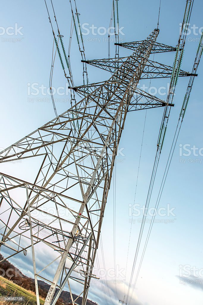 Close Shot of Electricity pylons stock photo