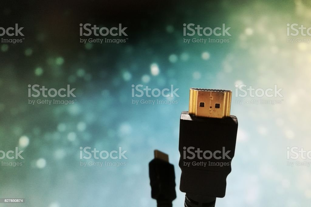 close shot of HDMI cable on bokeh background stock photo