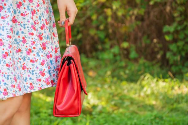 close shot of red bag - vlad models стоковые фото и изображения