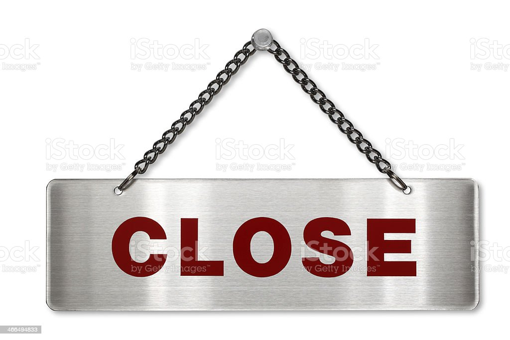 close sign/clipping path stock photo