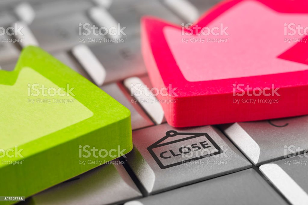 Close symbol on a computer keyboard with arrow signals stock photo