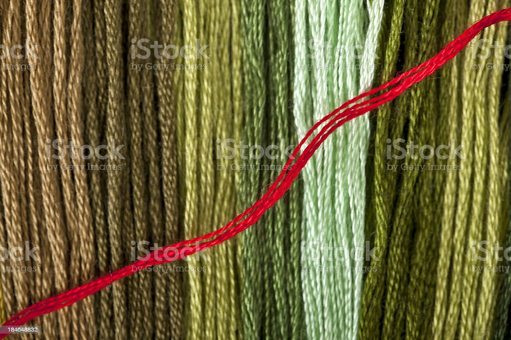 Close  To Greeny  Threads And Red Line royalty-free stock photo