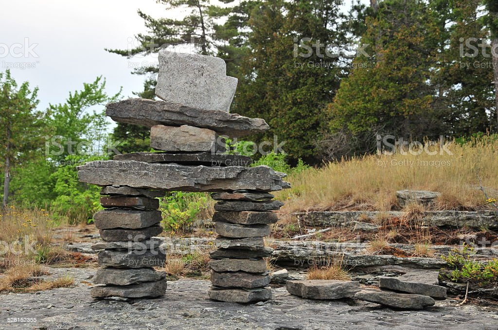 Close to Inukshuck stock photo