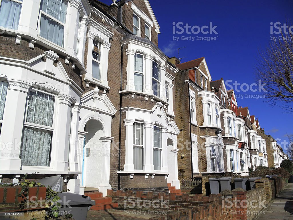 Close together cottage style homes stock photo