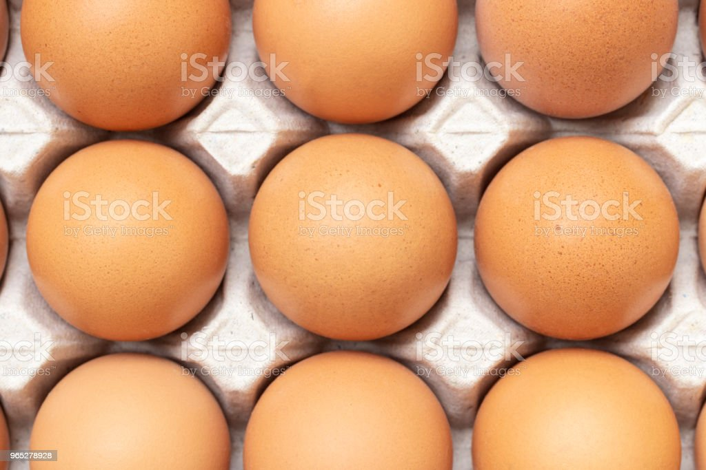 close uo of chicken eggs in paper tray royalty-free stock photo
