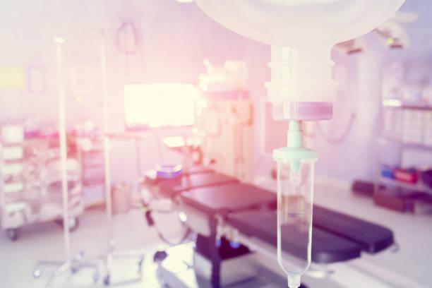 Normale Kochsalzlösung 0,9 % oder Natriumchlorid Tropf für Patient und Infusion Pumpe im Notfall OP im Krankenhaus von Arzt, medizinische Korridor-Konzept mit Textfreiraum, Vintage Farbe hautnah – Foto
