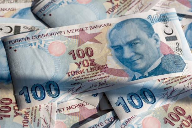 Close up 100 Turkish Liras. stock photo