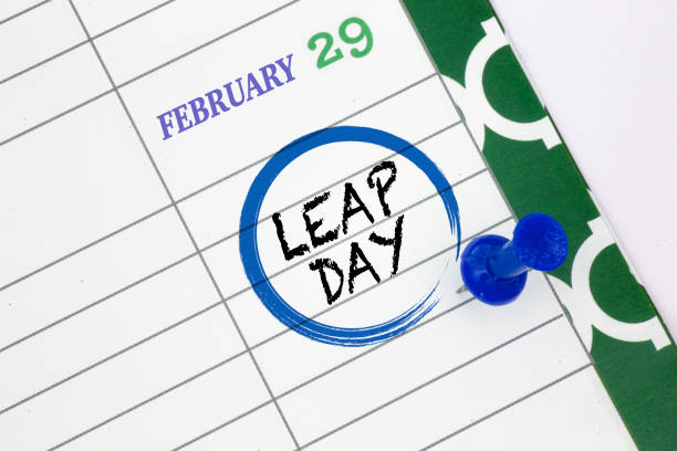 Close up a calendar on February 29 on a leap day Close up a calendar on February 29 on a leap day day stock pictures, royalty-free photos & images