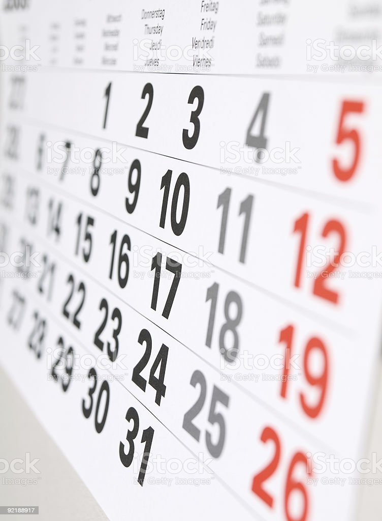 Close up a calendar page stock photo