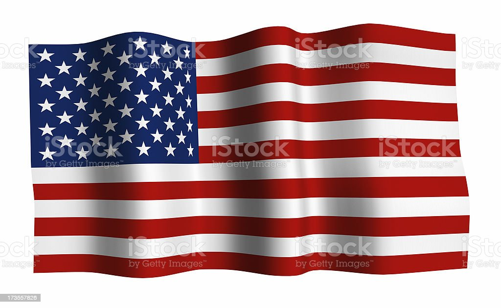 Close up a waving United States flag royalty-free stock photo