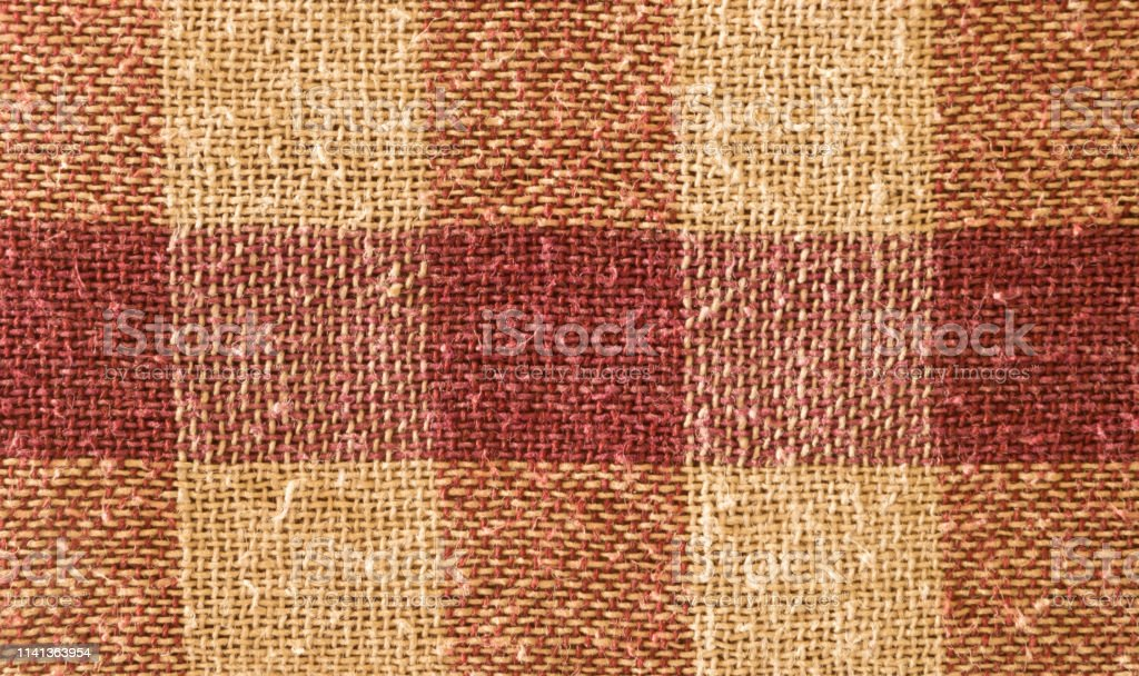 Close up abstract of block checked shape cotton print fabric...