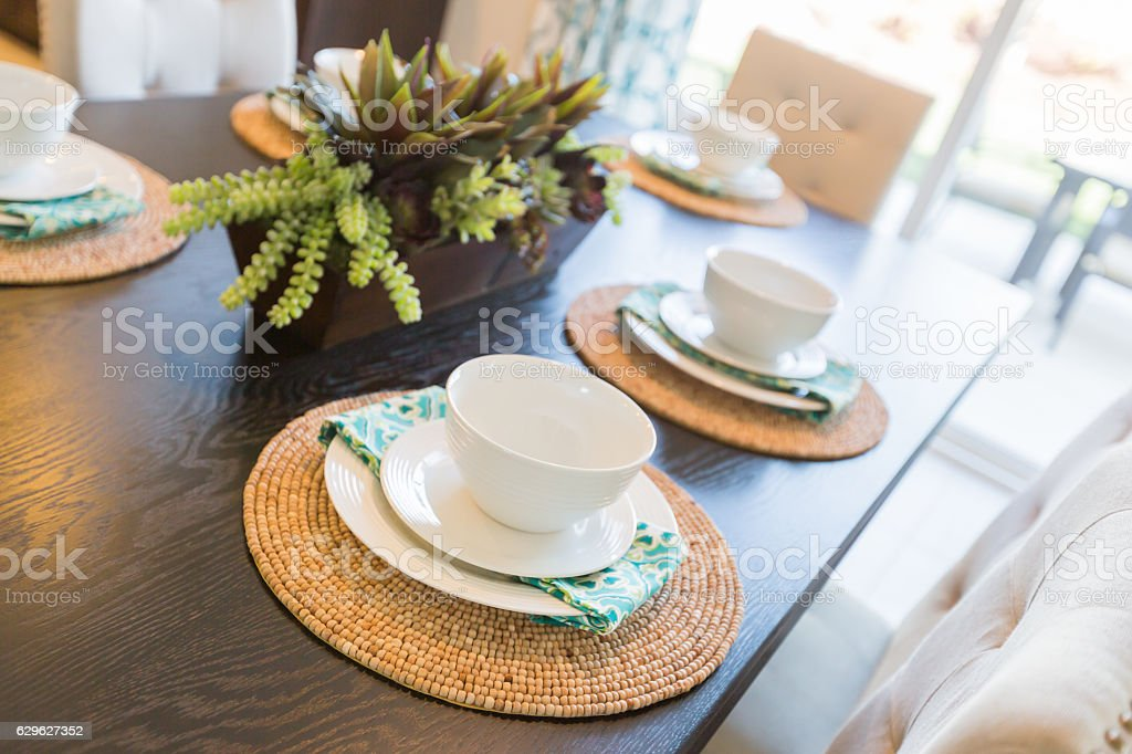 Close Up Abstract of Table Setting in House stock photo