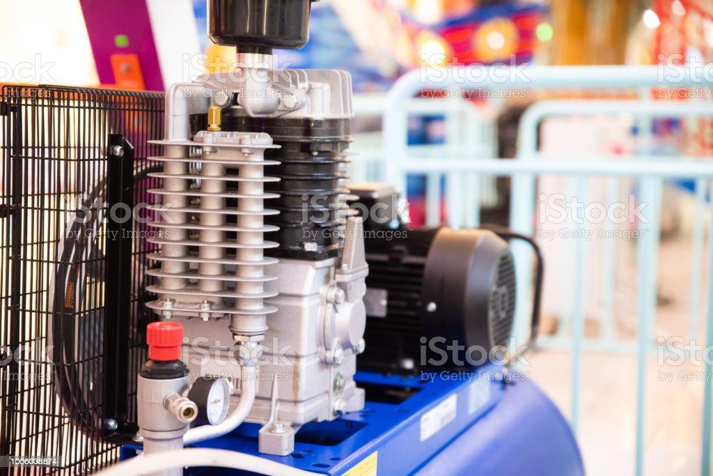 Close up air compressor engine machine. industrial engineering...