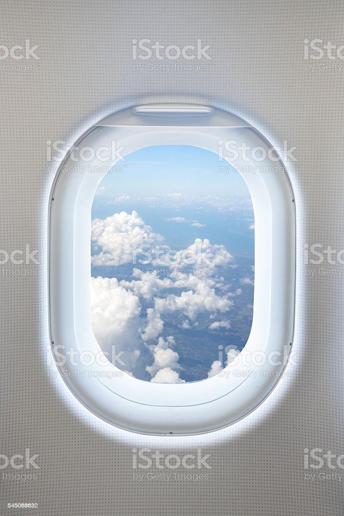 Close up aircraft window interior. – Foto