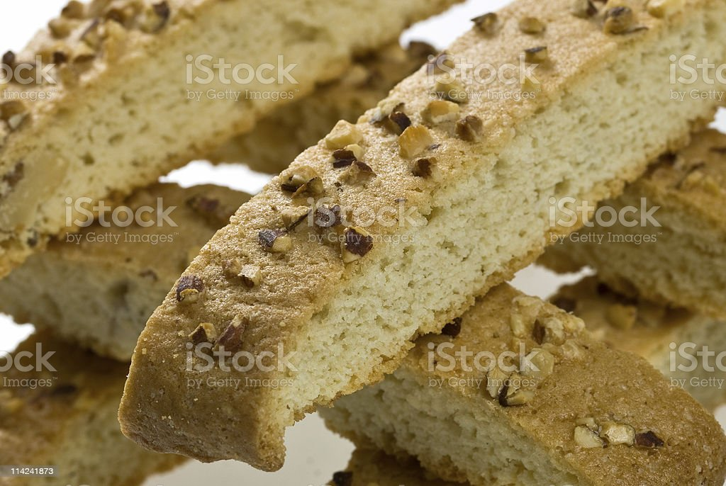 Close up almonds and walnut biscotti royalty-free stock photo