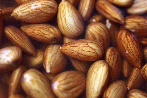 Close up almonds stock photo