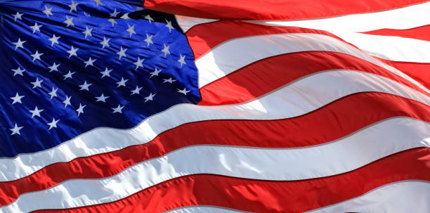 Close Up American Flag Background stock photo