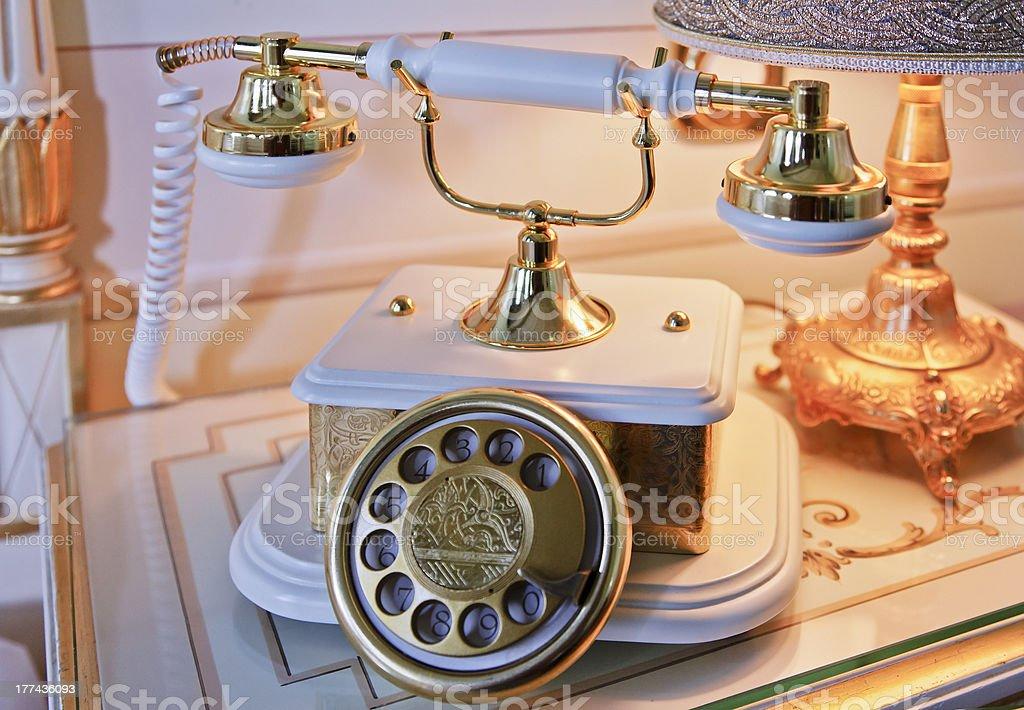 Close Up Analogue base handset Phone royalty-free stock photo