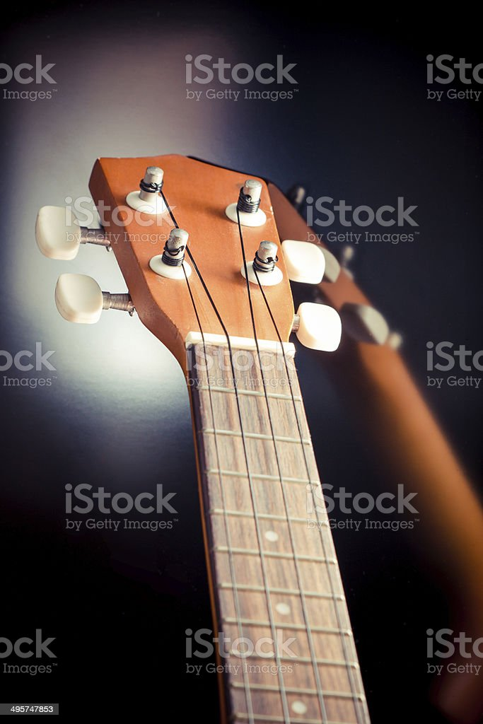 close up and focus at ukulele neck royalty-free stock photo