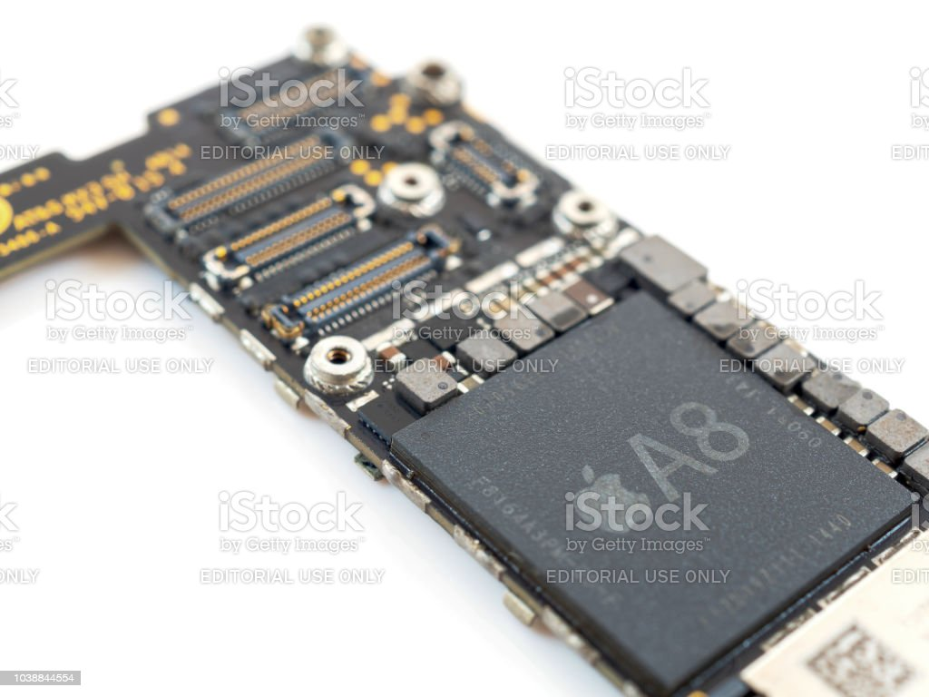 Close up Apple iPhone logic board stock photo
