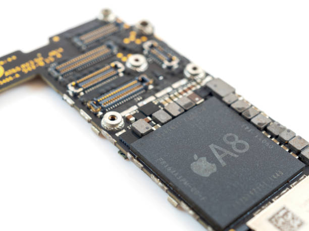 Close up Apple iPhone logic board stock photo