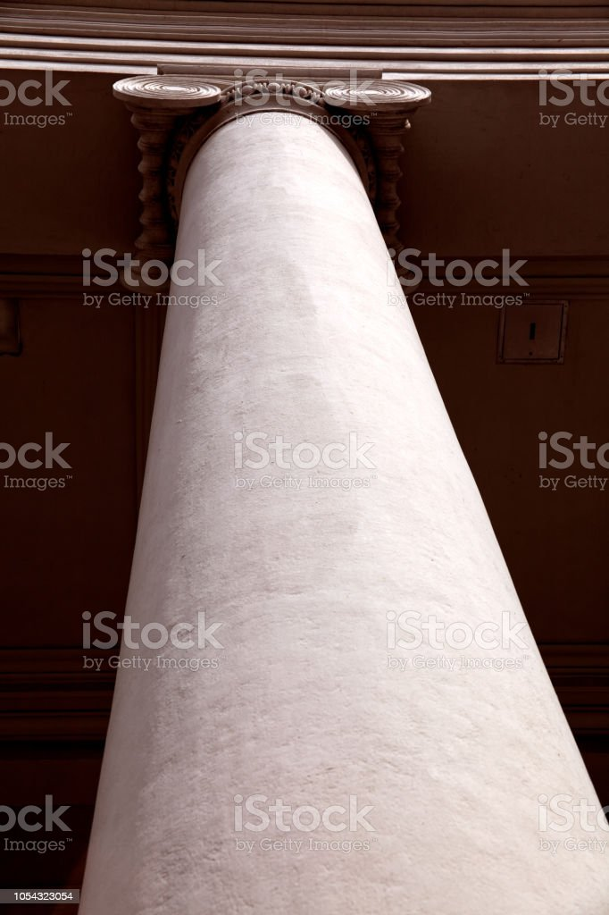 Close up shot of architectural column design from government building...