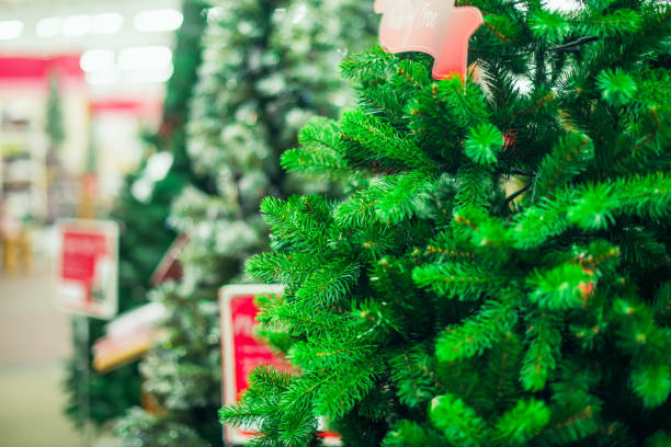 close up artificial green christmas trees for sale in the market, shop. prepearing for christmas eve, new year party. selective focus, copy space. - imitation stock pictures, royalty-free photos & images
