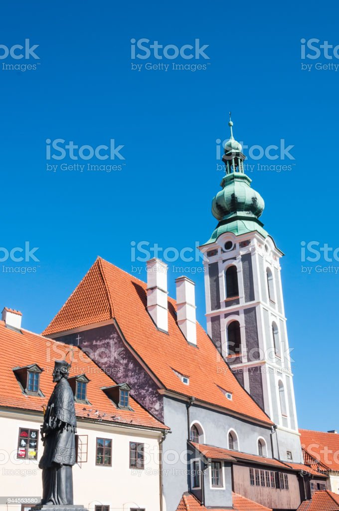 Close up at church in Cesky Krumlov stock photo