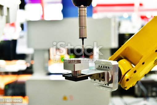 Close up automatic coordinate measurement machine (CMM) for inspection high precision part during working at dustrial